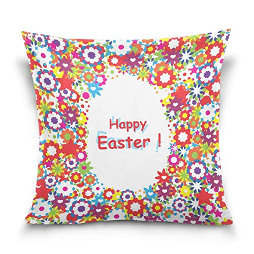 Aibileen Easter Pillow Case Rabbit Bunnies with Eggs Pillow Cover, Spring Season's Cotton Linen Sofa Bed Throw Cushion Cover Decoration (18