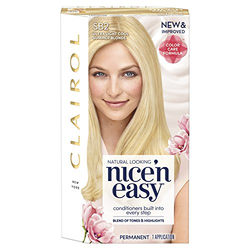 Clairol Nice 'N Easy Hair Color SB2 Ultra Light Cool Blonde Kit, 1 Count (Packaging May Vary) (Best Ash Blonde To Cover Orange)