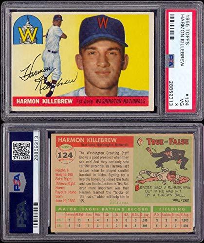 1955 Topps Regular (Baseball) card#124-psa harmon killebrew (psa) of the Washington Senators Grade Very Good