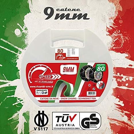 CATENE DA NEVE OMOLOGATE SMC 9mm PER GOMME 195 55 R 16 GRUPPO 80