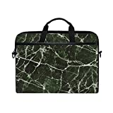 YZGO 15 inch Laptop Briefcase,Green Marble Stone Print Notebook Computer Tablet MacBook Messenger Sleeve Case Handy Stylish Business Shoulder Bag