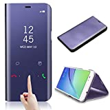 for Samsung Galaxy S9 Case Cover, CrazyLemon Date Time Clear View Bright Mirror Standing Flip Cover with Kickstand and Sleep Function Awakening Smart Cover View Standing Cover Electroplating PC + PU Leather Protective Case Cover for Samsung Galaxy S9 - Purple