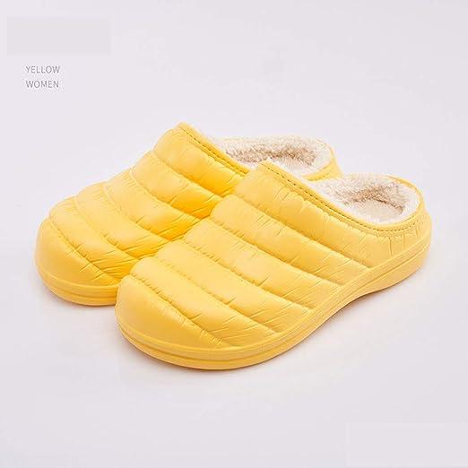 WYEZ Zuecos Zapatillas cálido Zapatos de jardín Forrados de Felpa de Invierno de casa Zapatillas de algodón Suela Antideslizante Impermeables para Interiores y Exteriores Unisex,Amarillo,40/41: Amazon.es: Hogar