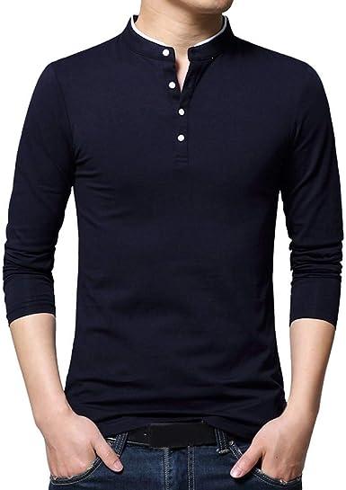 Camisetas para Hombre Moda Verano Primavera para Hombre Cuello Alto Especial Estilo Camiseta De Manga Larga para Hombre Blusa Pura Top Top Camiseta Sin Mangas Blusa Camisetas Camisetas De Manga Larga: Amazon.es: