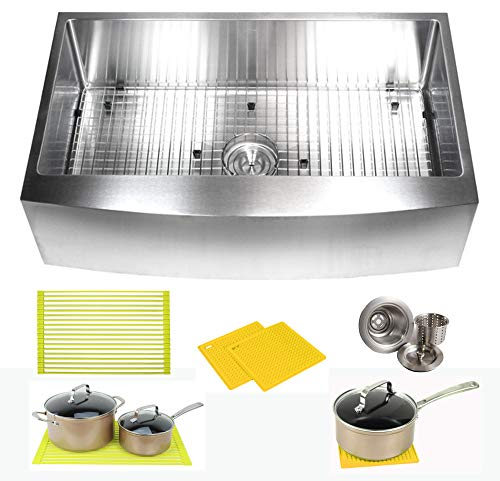 36 Inch Farmhouse Apron Front Stainless Steel Kitchen Sink Package  16 Gauge Curved Front Single Bowl Basin  Complete Sink Pack  Bonus Kitchen Accessories ()