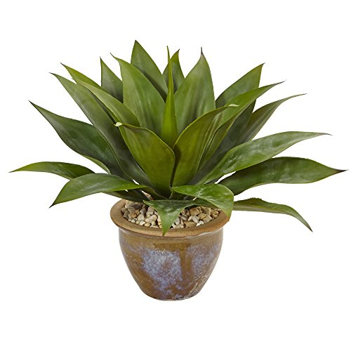 Nearly Natural Agave Artificial Plant in Glazed Clay Pot, Green