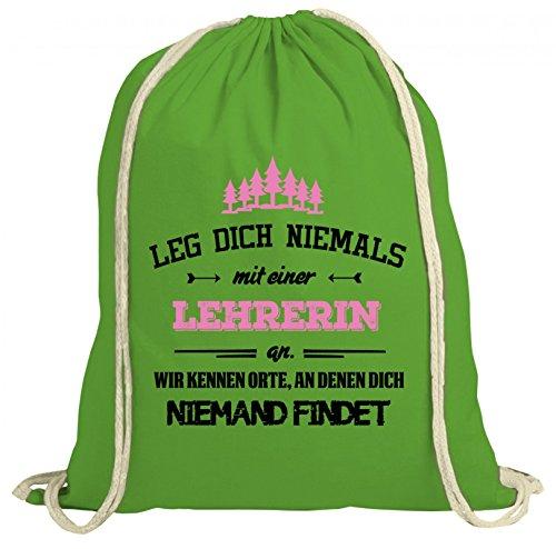 ShirtStreet Geschenk zum Geburtstag Jubiläums Abschied natur Turnbeutel Rucksack Gymsac Leg Dich niemals mit einer Lehrerin an Grün Natur EXSSJe