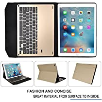IVSO Apple iPad Pro 12.9 Case With Keyboard Ultra-Thin Aluminum Bluetooth Keyboard Stand Case / Cover for Apple iPad Pro 12.9-inch 2015 Version Tablet(Gold)