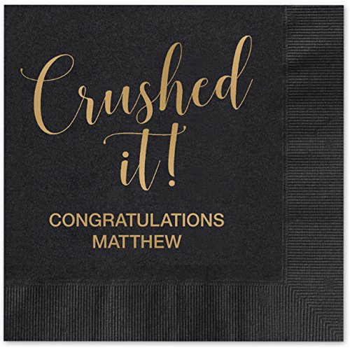 Crushed It! Personalized Beverage Cocktail Napkins - 100 Custom Printed Black Paper Napkins with choice of foil