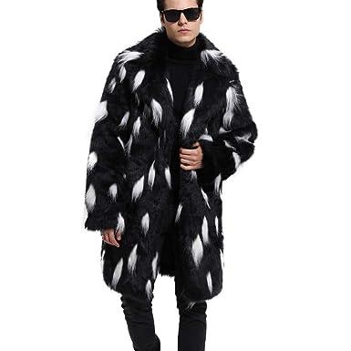 Cebbay Abrigo de Piel sintética de los Hombres Chaqueta Cardigan patrón de Puntos tolerante sección Larga Invierno cálido Abrigo Grueso Piel Artificial ...