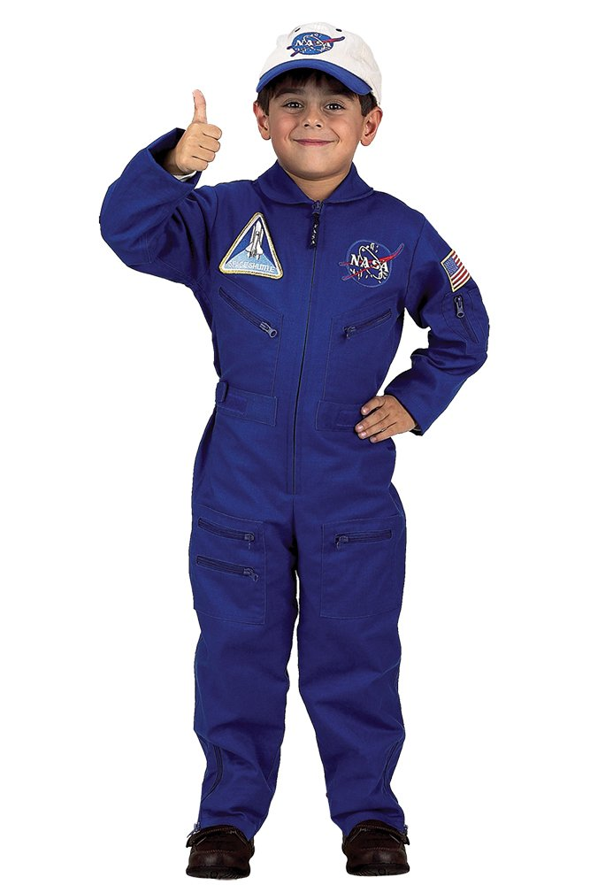 Aeromax Jr. NASA Flight Suit, Blue, with Embroidered Cap and official looking patches, size 8/10.