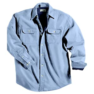 TRM Men's Cotton Tahoe Stonewashed Fleece Denim Shirt Jacket (10 Color, XS-6XLT)