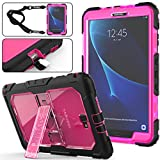 Galaxy Tab A 10.1 T580/T585 Case (NOT for other 10.1 Tablet), Full-Body [Heavy Duty]&[Shock Proof] Hybrid Armor Protective Case with Kickstand & Portable Strap for Samsung Tab A 10.1 Inch (Rose+Black)