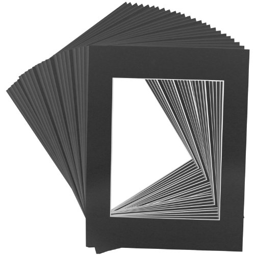 US Art Supply Art Mats Brand Premier Acid-Free Pre-Cut 16x20 Black Picture Mat Matte Face Frames. Includes a Pack of 25 White Core Bevel Cut Matte Frames for 11x14 Photos