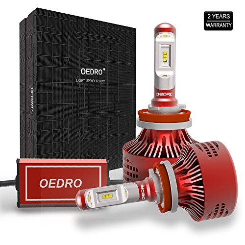oEdRo H11 LED Headlight Bulbs Conversion Kit - Unique Fanless LED Headlamp H11 / H9 / H8, Upgraded Dark Spot Free Heatsink Design, Super Bright White 6000K 8000 Lumens, 50000-Hour, 2-Year Warranty