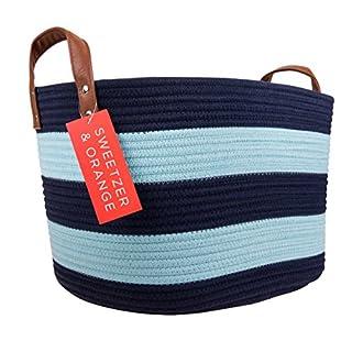 Sweetzer & Orange Large Woven Cotton Rope Storage Basket (Vegan Handles) - Blanket Storage Baskets, Laundry Basket, Toy Storage, Nursery Hamper - Decorative Blue Stripe Basket for Living Room