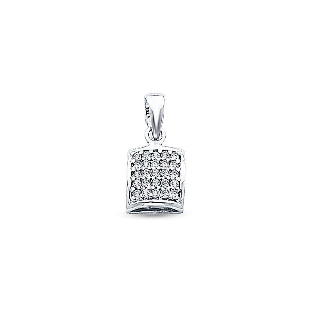 Jewel Tie Solid 14K White Gold Rounded Square Pendant Charm with Micro Pave Cubic Zirconia CZ Accent 7x7 mm
