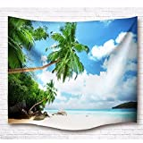 A.Monamour Tropical Nature Scenery Beach Seaside Coconut Tree Blue Sky White Clouds Wall Hanging Tapestry Wall Decor