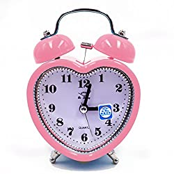Kennedy Cute Mini Non-ticking Bedside /Table Analog Alarm Clock With Nightlight Heart Shape Design Metal Frame Bell Alarm Clock