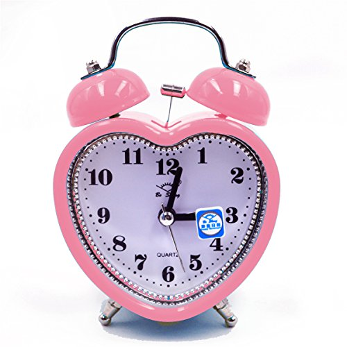 Kennedy Cute Mini Non-ticking Bedside /Table Analog Alarm Clock With Nightlight Heart Shape Design Metal Frame Bell Alarm Clock - Shape Alarm Clock