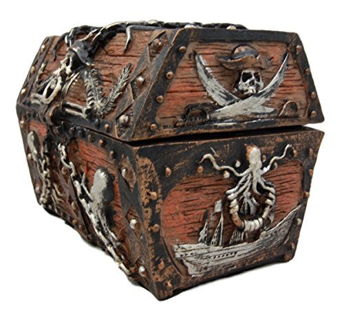 Atlantic Collectibles Caribbean Kraken Octopus Pirate Haunted Chained Skull Treasure Chest Box Jewelry Box Figurine 5''L by Ebros Gift (Image #3)