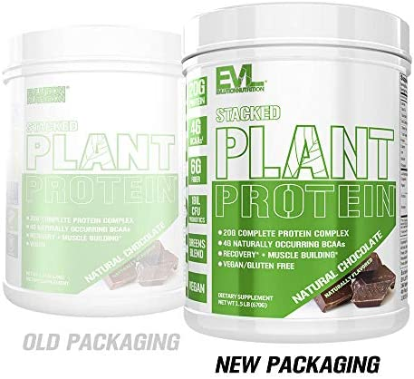 Stacked Plant Protein Powder, All-Natural Chocolate, Vegan, Non-GMO, Gluten-Free, Probiotics, BCAAs, Fiber, Complete Plant-Based Protein Complex 1.5 lb Tub
