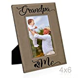 Kate Posh - Grandpa & Me Engraved Leather Picture Frame, First Grandchild Gifts, Best Grandpa Ever, Grandparents Gifts (4x6-Vertical)