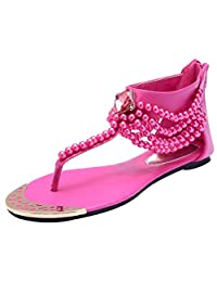 D2C Beauty Women's Summer Rhinestone Pearl Bohemian Flat Thong Sandals