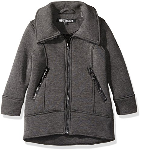 Steve Madden Girls' Little Fashion Outerwear Jacket (More Styles Available), Air Layer-A1046-Black Heather, 5/6