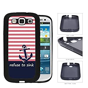 I Refuse To Sink Pink Stripe Blue Anchor Rubber Silicone TPU Cell Phone Case Samsung Galaxy S3 SIII I9300