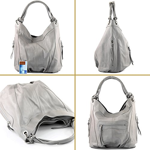 Italian ModaModa Z18 Nappa Bag Large Shoulder Women's Dark Choice Leather cm Gray 42x16x30 Colour dUqUSwf
