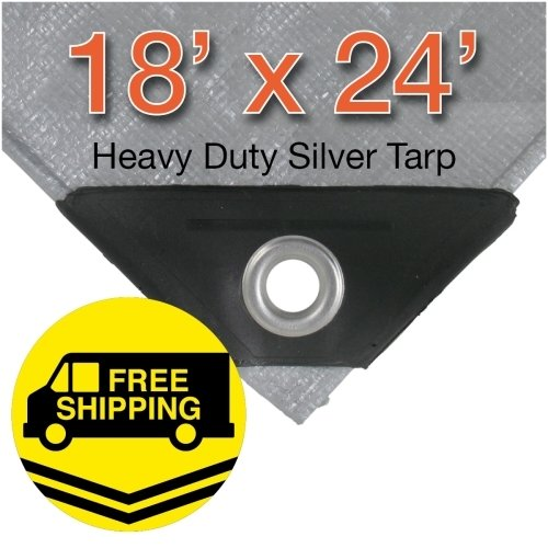 Heavy Duty Poly Canopy Tent Boat RV or Pool Cover Tarp Size: 18' x -