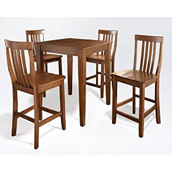 Crosley Furniture 5 Piece Pub Set With Tapered Leg Table And School House  Stools