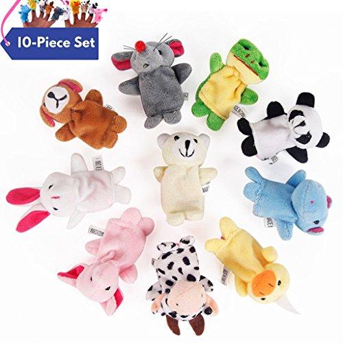 Zinnor 10 Pcs Finger Puppet Soft Plush Velvet Animal Style Finger Puppets Set
