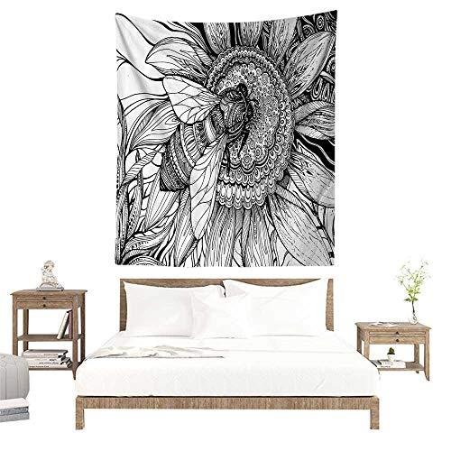 alisoso Wall Tapestries Hippie,Nature Decor,Bee on a Flower Honey Pollen Floral Mother Earth Phase Wildlife Digital Print,Black White W55 x L55 inch Tapestry Wallpaper Home Decor ()