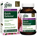 Gaia Herbs Quick Defense, Vegan Liquid Capsules, 40 Count - Rapid Immune Support When Your Immune System Needs It, Echinacea, Ginger Root and Sambucus Black Elderberry Extract,