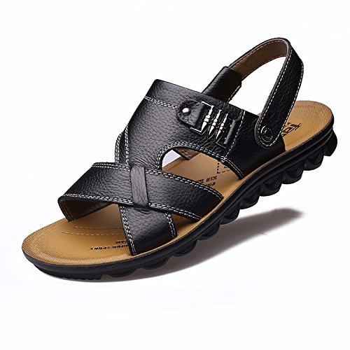 Uomini sandali Uomini estate vera pelle Doppio uso Spiaggia scarpa gioventù Spessore inferiore Antiscivolo traspirante Tempo libero Uomini scarpa ,neroA,US=7,UK=6.5,EU=40,CN=40