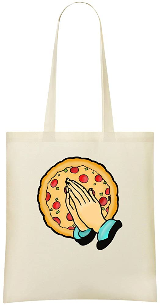 Pray For Pizza Custom Printed Shopping Grocery Tote Bag 100/% Soft Cotton Eco-Friendly /& Stylish Handbag For Everyday Use Custom Shoulder Bags Priez pour la pizza