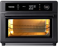 Toshiba Air Fryer Toaster Oven, 13-in-1 Digital Convection Oven for Pizza, Chicken, Cookies, 25L, 1750W, Charcoal Grey, 6 sli