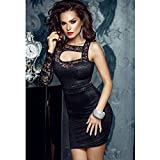 YeeATZ Floral Lace Motif Cut-out Rhinestone Black Mini Package Hip Dress One Size