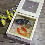 Y-Nut 3D Resin Goldfish in Wood Box, 100% Hand Drawing, Handmade Rasin Painting Decoration Art, GF-08