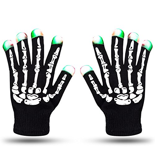 LED Skeleton Gloves ZOETOUCH 6 Modes Glowing Gloves Party LED Lighted Gloves For Raves,Dubstep Party,Halloween,Christmas and Other Festivals