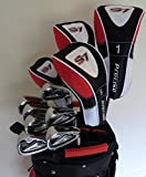 Mens Golf Set Complete Driver, 3 & 5 Fairway Woods, Hybrid, Irons, Putter Sand Wedge & Deluxe Cart Bag Right Handed