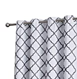 HLC.ME Lattice Embroidered Thermal Room Darkening Blackout Window Curtain Grommet Panels for Sliding Glass Patio Doors – Energy Efficient & Extra Wide (100″ W x 84″ L, Platinum White/Grey)