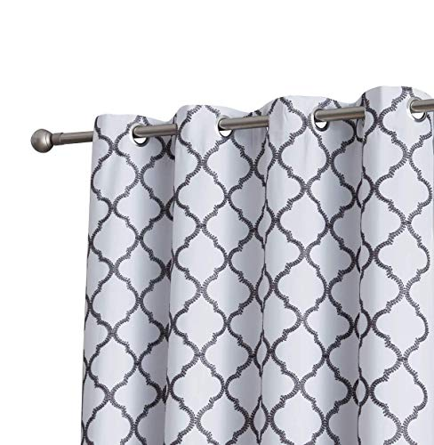 HLC.ME Lattice Embroidered Thermal Room Darkening Blackout Window Curtain Grommet Panels for Sliding Glass Patio Doors - Energy Efficient & Extra Wide (100