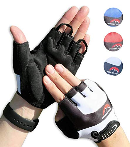 Cycling Gloves Mountain Bike Gloves Road Racing Bicycle Gloves for Biking, Mountain Biking, Riding, Gym, Sports, Foam Padded Breathable Half Finger Gloves, Men Women Work Gloves