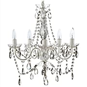 The Original Gypsy Color 5 Light Medium Crystal Chandelier H21  W19 , White Metal Frame with Clear Acrylic Crystals (Better than Glass)