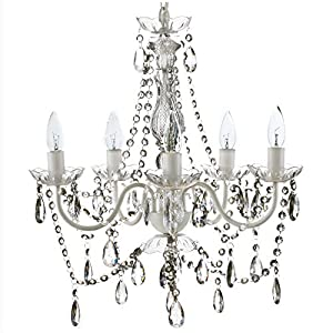 "5 Light Crystal White Hardwire Flush Mount Chandelier H21""xW19"", White Metal Frame with Clear Glass Stem and Clear…"