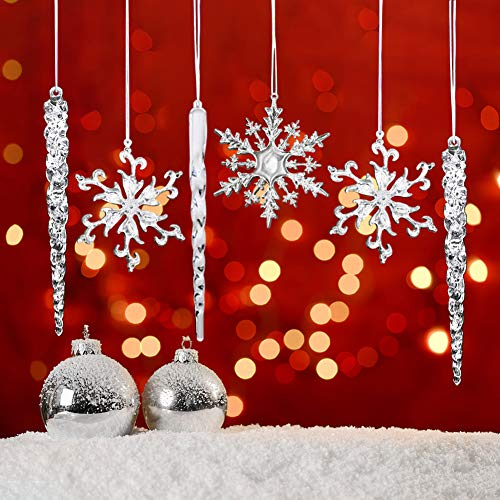 HAKACC Christmas Snowflake Decorations,36pcs Icicles Ornaments Set Clear Snowflake Acrylic Christmas Ornaments for Santa Outdoor Party Decoration Craft Projects