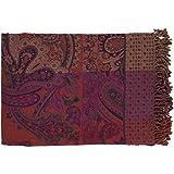 55'' X 80'' Tahitian Treat Purple, Magenta and Orange Fringed Throw Blanket